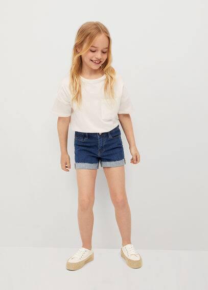 Denim shorts met omgevouwen broekspijpen