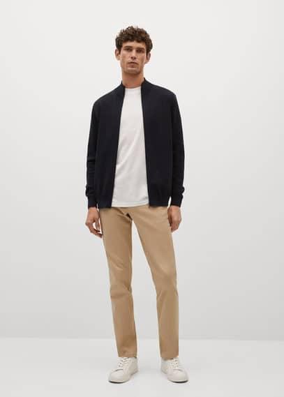 Thermoregulating zip cotton cardigan black