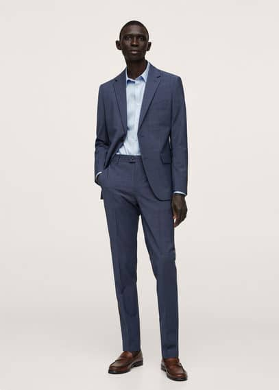 Super slim fit cotton stretch suit shirt black
