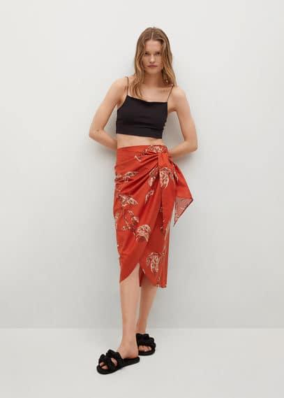 Принтованная юбка с запáхом - Fun