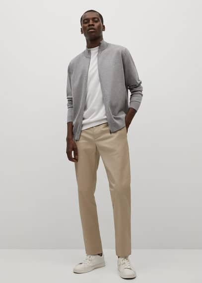 Zipped cotton cardigan medium heather grey