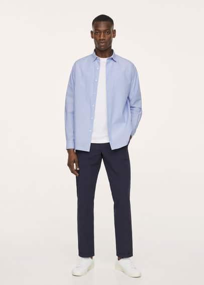 Breathable seersucker shirt blue