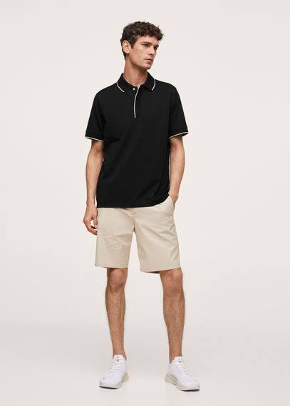 Contrast trim cotton polo shirt black