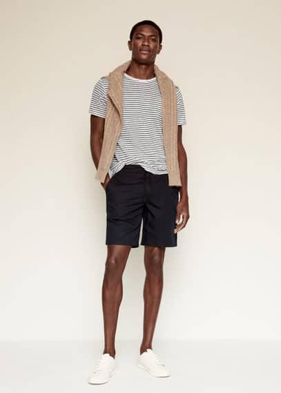 100% linen striped t-shirt medium heather grey