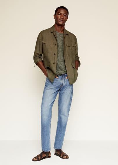 Regular fit 100% linen T-shirt dark navy
