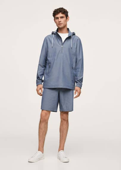 Cotton jacket with zippers blue