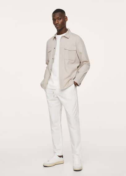 Chest-pocket overshirt beige