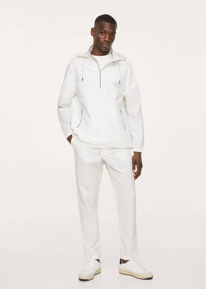 Cotton jacket with zippers white