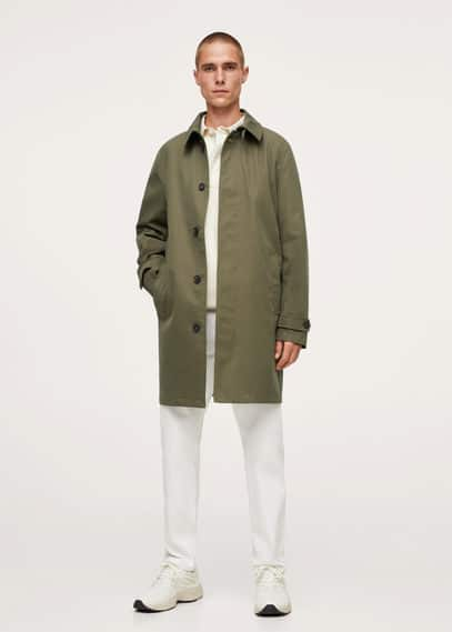 Long water repellent trench navy
