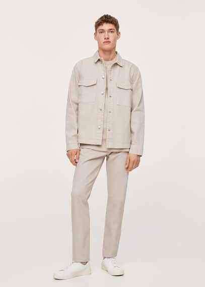 Pocket denim overshirt beige