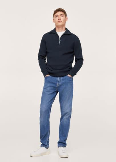 High neck sweater with zip navy