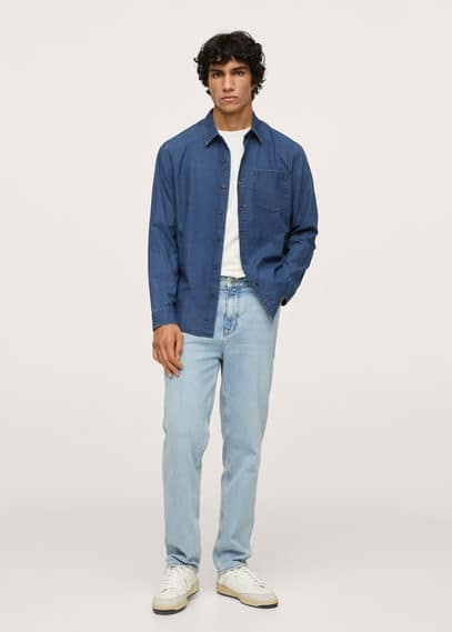 Regular-fit denim shirt with pocket dark blue
