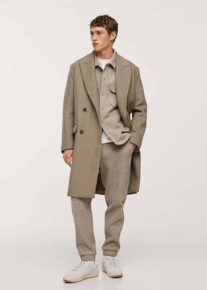 Wool double-breasted coat medium brown
