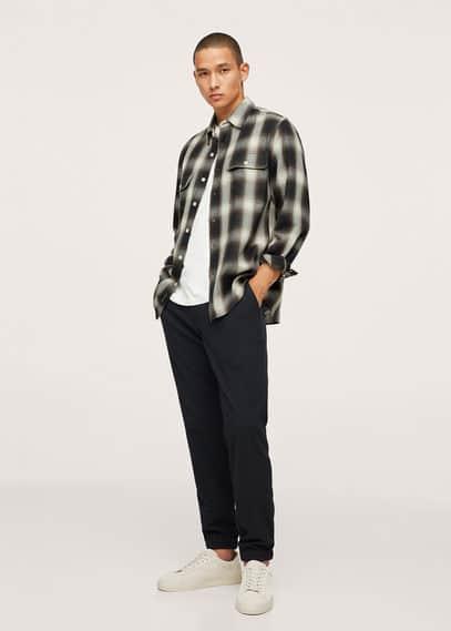 Checked flannel shirt ecru