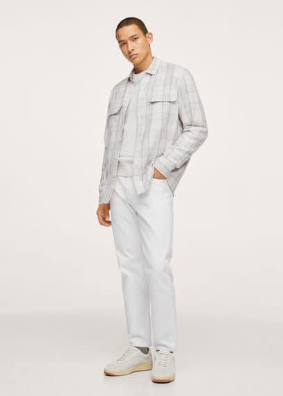 Chest-pocket check shirt dark navy