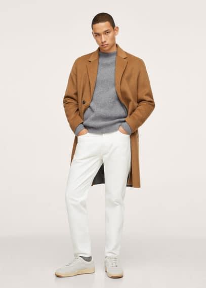 High collar wool sweater grey