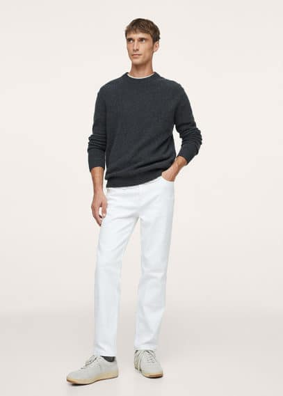 Textured wool-blend sweater charcoal