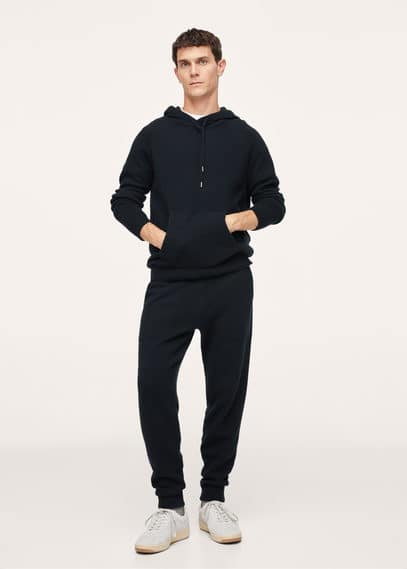 Cashmere wool knit hoodie navy