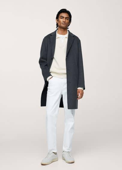 V-neck polo neck wool sweater white