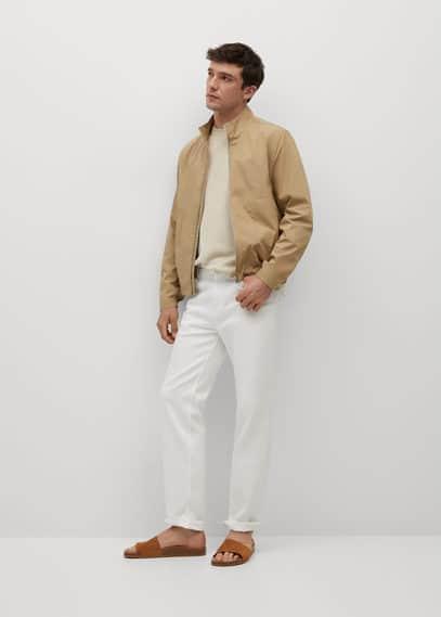 Zipper cotton jacket dark navy
