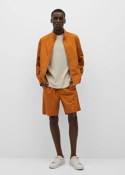 Zipper cotton jacket orange