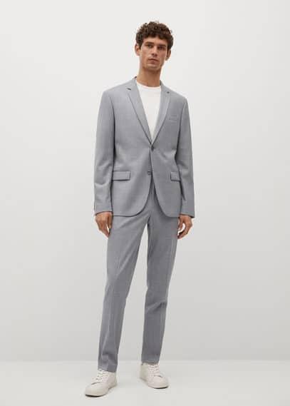 Super slim-fit checked Tailored blazer grey