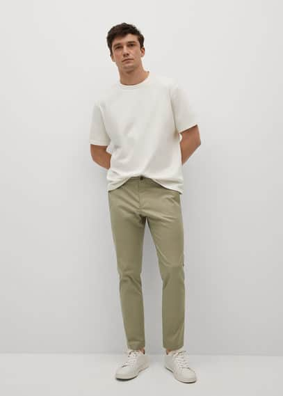 Cotton tapered crop pants beige