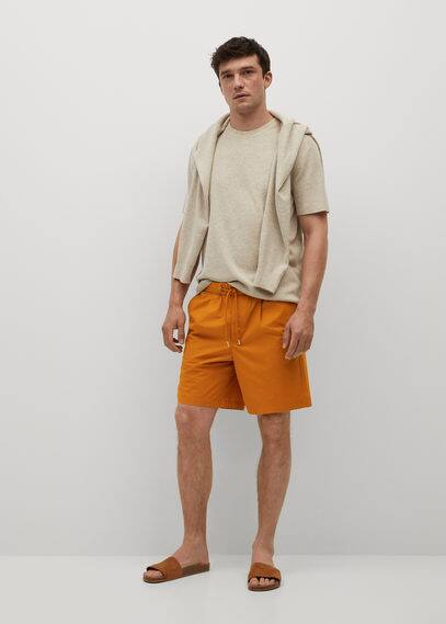Jogger cotton Bermuda shorts orange