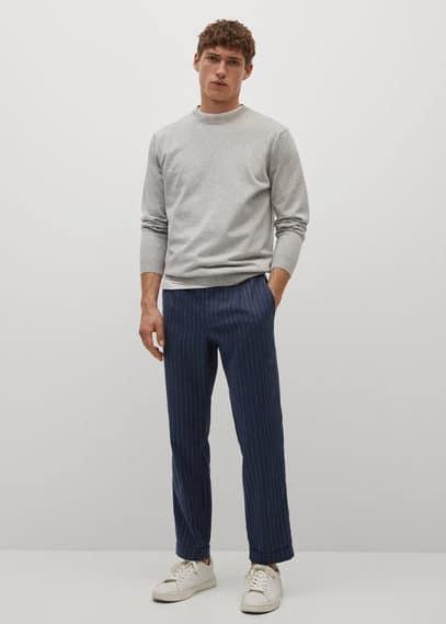 Striped slim-fit linen trousers dark navy
