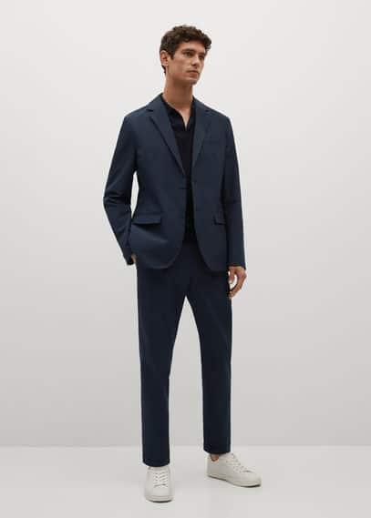Slim-fit seersucker stretch pants dark navy