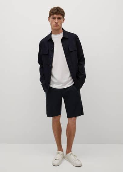 Linen lyocell chino shorts dark navy