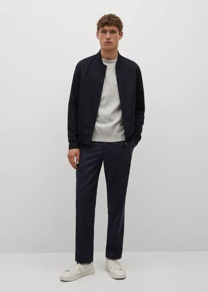 Slim-fit lyocell linen pants dark navy