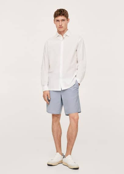 Striped seersucker shorts sky blue