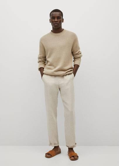 Slim-fit linen pants dark navy