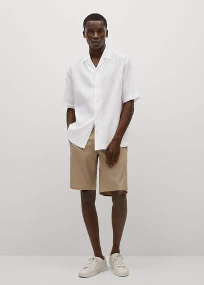 Breathable linen bowling shirt dark navy