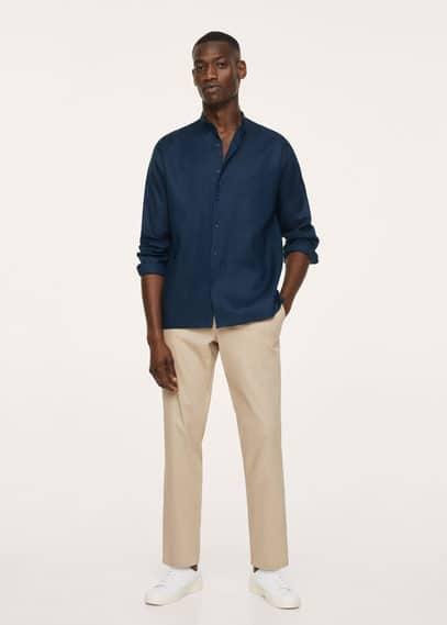 Mao-neck technical linen shirt dark navy