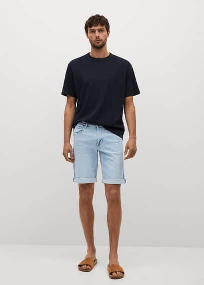 Light-wash denim shorts light blue