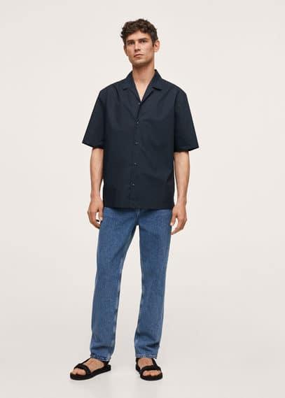 Cotton bowling shirt dark navy