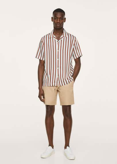 Striped bowling fluid shirt white
