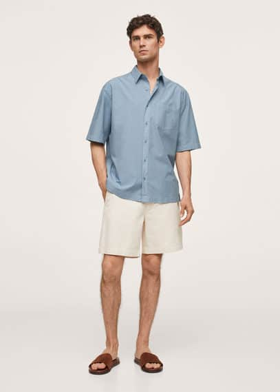 Relaxed-fit cotton lyocell shirt blue