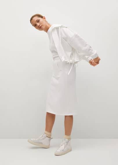 Хлопковая юбка с карманом - Clay