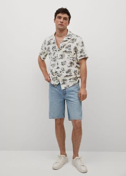 Hawaiian print shirt ecru
