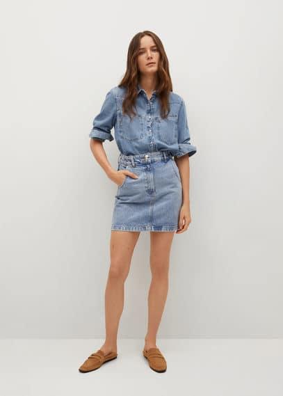 Джинсовая мини-юбка с карманами - Marion