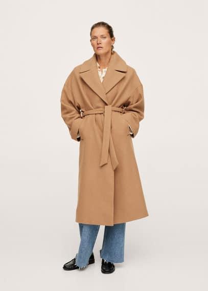 Пальто с большими лацканами, с шерстью - Time