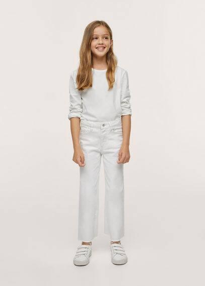 Culotte-jeans met gerafelde broekspijpen