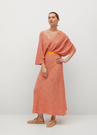 Комбинированное вязаное платье с вырезом - Fairy от Mango