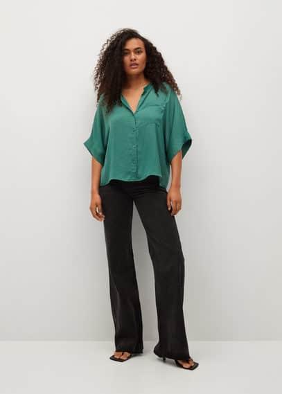 Объемная атласная рубашка - Jun Mango зеленого цвета