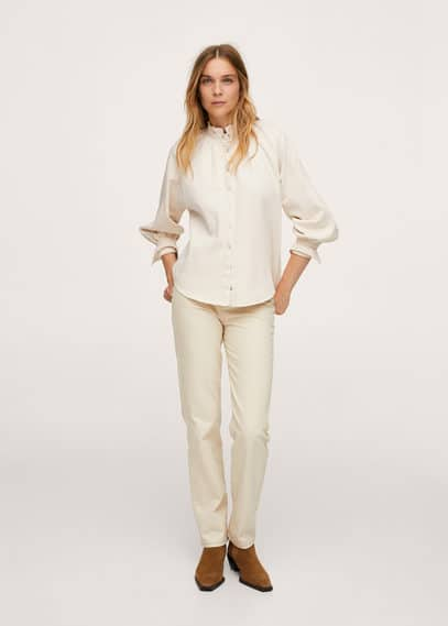 Джинсовая рубашка с рукавами-фонариками - Bilma