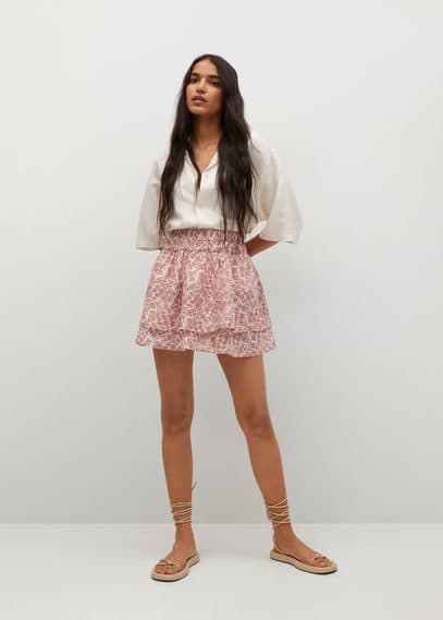 Мини-юбка с принтом и воланами - Corfu