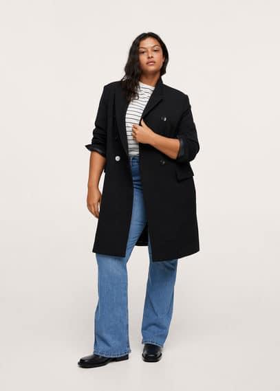 Двубортное пальто - Leti Mango черного цвета